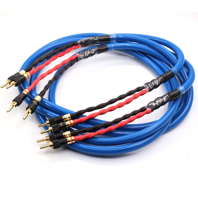 hifi speaker cable wires pair silver-gold ls-180 g5 audiophile speaker  cable hifi loudspeaker cable with pailccs banana plugs