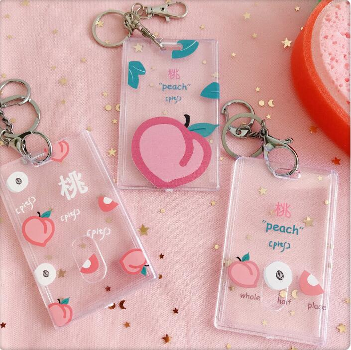 1 Pc Peach Transparent Plastic Card Holder Stationery Bank Card ID Card Bus Card Holder