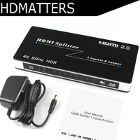 HDR HDMI 2.0 Splitter 1X8/4/2 4KX2K/60HZ HDCP 2.2 4K HDMI Splitter Amplifier Switch Box with power adapter for PS4 pro Apple TV