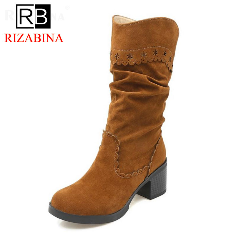 RizaBina Size 33-43 Women Short Snow Boots High Heel Boots Thick Fur Shoes Women Warm Winter Boots Mid Calf Botas Women Footwear rizabina cold winter snow shoes women real leather warm fur inside ankle boots women thick platform warm winter botas size 34 39