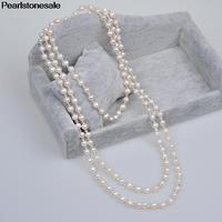 Genuine Real White Natural Fresh water Pearl Crystal Necklace sweater chain Long multilayer accessory female fashion Jewlery