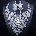 FARLENA JOYERÍA Grande de la Flor Collar Pendientes establecidas para Las Mujeres Luxry Crystal Rhinestone Dubai Nupcial Joyería Africana Fija