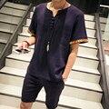 Varón verano Estilo Nacional V Ropa de Cuello de Manga Corta T-Shirt Bordado Más Tamaño Camisa de Lino Ocasional M-5XL