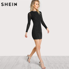 ... SHEIN Glitter Form Fitting Tee Dress Black Women Dress Long Sleeve Sexy  Bodycon Dress Autumn Elegant ... d87b47a8af61