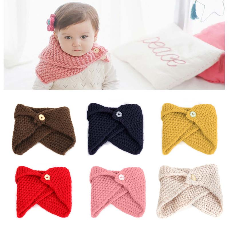 New Fashion Baby Boys Girls Neck Cloak Collar Button Shawl Handmade Knitted Wool Neck Scarves Warmer Winter Scarf