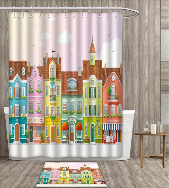 Vintage Shower Curtain 3D Digital Printing Retro Houses Various Colors Businesses Bakery Fishmonger Coffee Shop Bathroom Set