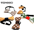 Rewood Hot Fashion Men Wooden Bow Tie Accessory Wedding Event Hardwood Wood Bow Tie For Men Butterfly Neck Ties krawatte Gravata