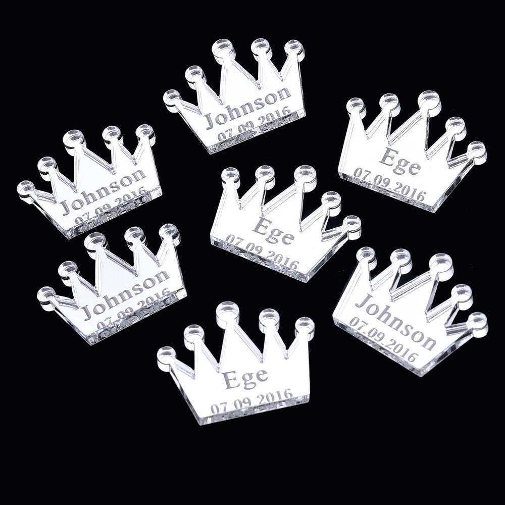 50 pcs Personalizado Gravado Coroa Mesa Centerpieces Decorações Do Chuveiro de Bebê Decorações Batismo Favores Do Presente Do Partido Presente de Aniversário