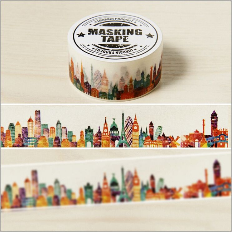 20mm Wide Colorful Beautiful City Buildings Decoration Washi Tape DIY Planner Diary Scrapbooking Sticker Label Masking Tape