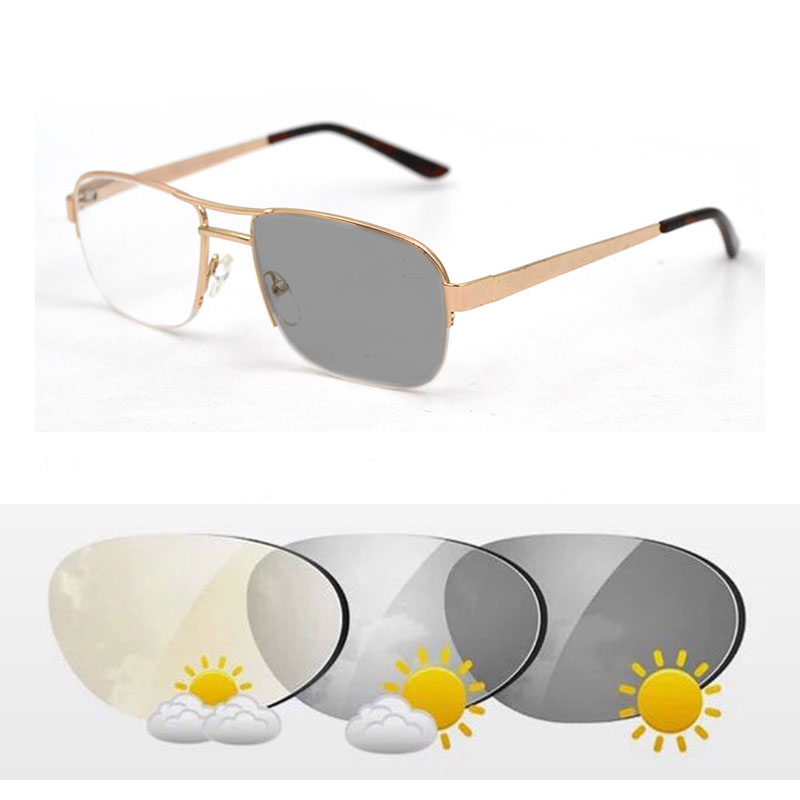 New Fashion Bifocal Intelligent Photochromic Reading Glasses magnifier Women Men Double Beam Semirim Presbyopia Spectacles D5