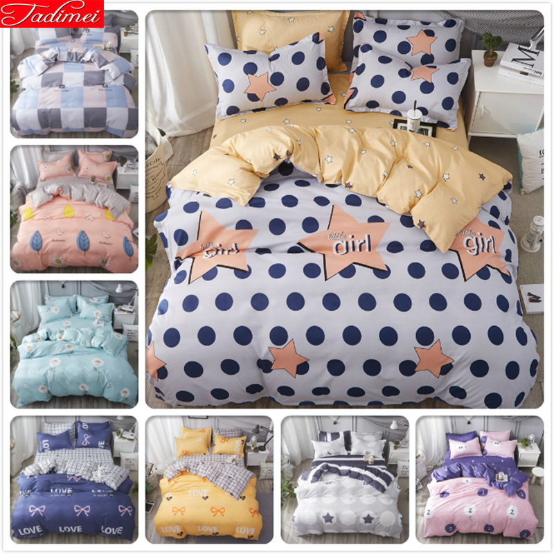 Power Source Creative Flower Floral Sky Blue Pink High Quality 4pcs Bedding Sets King Queen Double Size Duvet Cover 1.8m 2m Bed Sheet Linens Bedlinens
