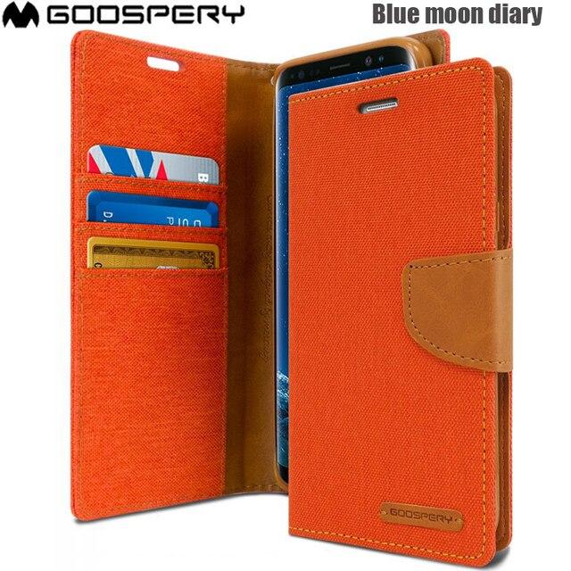 Dorigine Mercury Goospery Toile Journal Portefeuille étui en cuir pour support pour Samsung Galaxy S9 S9 PLUS