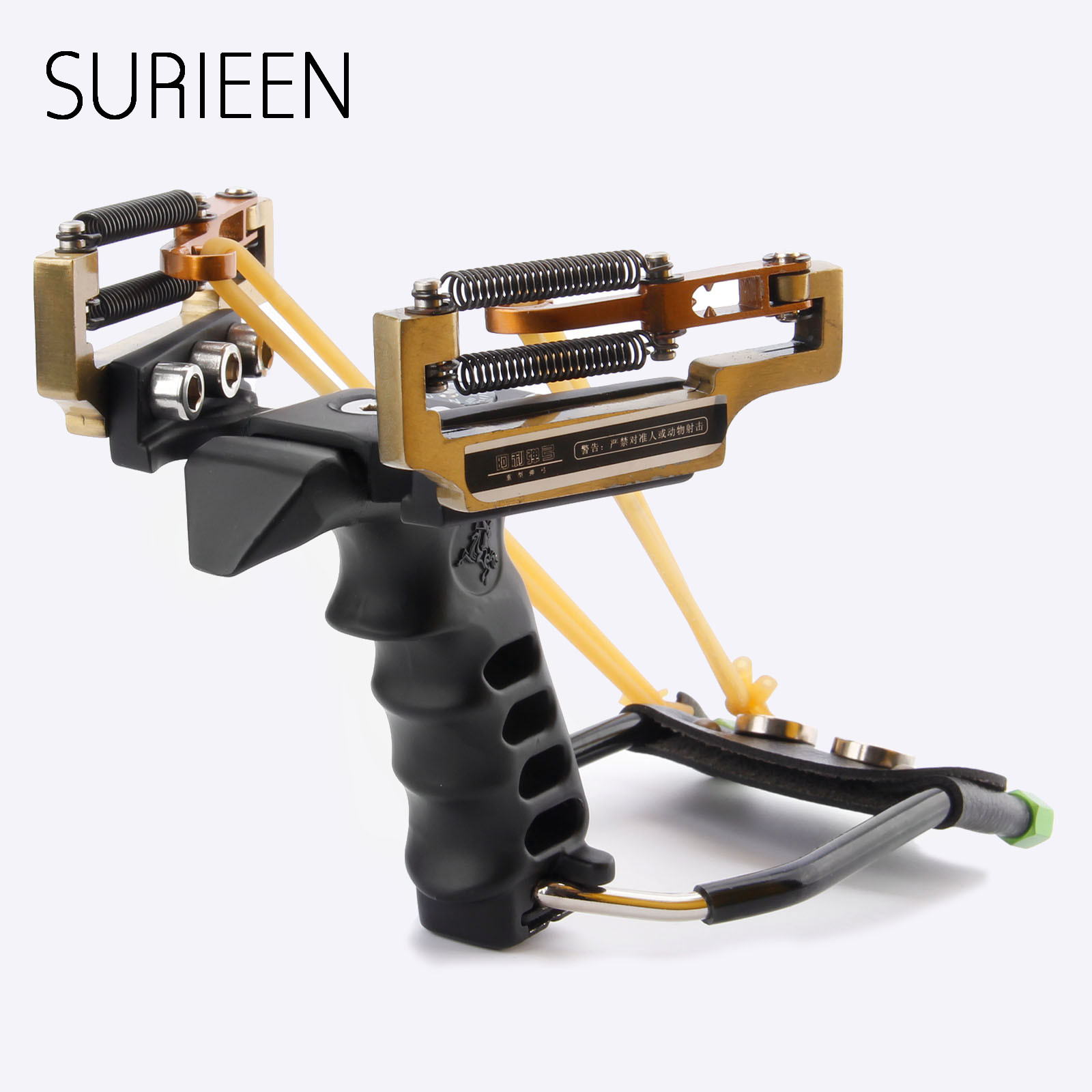 SURIEEN Metal Sling Shot Shots Outdoor Slingshots Strong Powerful Catapult +Rubber Bands +Wrench+Steel Balls Hunting Estilingue judge g5 slingshot hunting powerful catapult camouflage stainless steel hunter aluminium alloy sling shot with clamp and laser