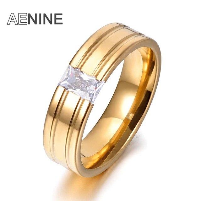 AENINE Impostazione Canale Singolo CZ Anelli di Cristallo di Colore Dell'oro 316