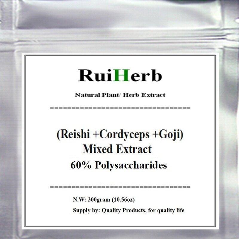 цены на (Cordyceps + Reishi + Goji ) Mixed Extract 60% Polysaccharides Powder 300gram free shipping в интернет-магазинах