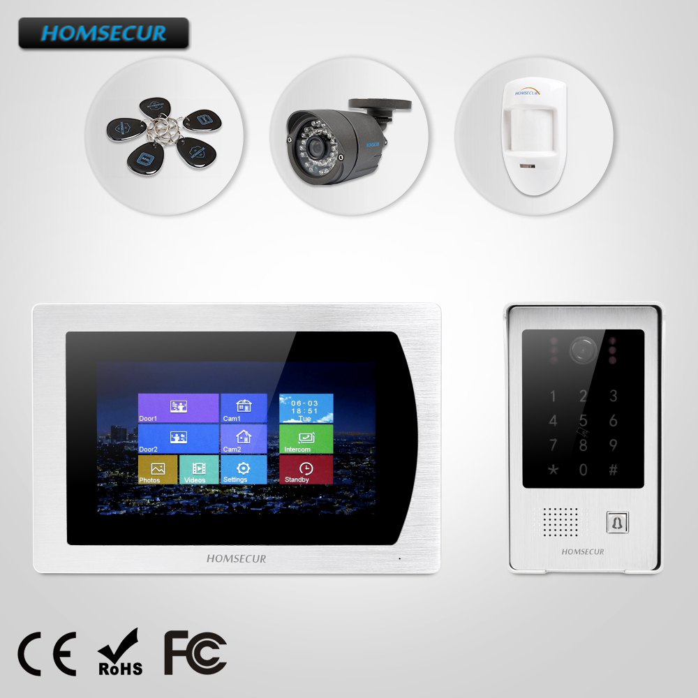 HOMSECUR 7 Wired Video Door Phone Intercom System+CCTV Camera+Wired PIR+Voice Message for House/Flat(BM717-S+BC091)