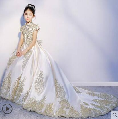Real Pictures Custom Made Gold Lace white Black Satin High Neck Girl Communion Dresses Pageant Ball