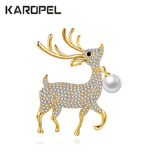 Clear Micro Pave Cubic Zircon Paved Lovely Deer Brooches Pin Lady natural freshwater pearl Scarf Buckle Dressing Jewelry