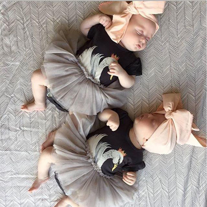 Cute Infant Baby Girls Kid Swan Romper Dress Baby Girls Tutu Dress Outfits Tulle Kids Baby Girls Clothes