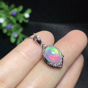 Image 2 - Uloveido Fire Opal Pendant Necklace for Women, 925 Sterling Silver, 8*10mm Certified Color Changing Gemstone Jewelry FN150