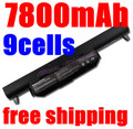 7800MAH 9cells Laptop Battery for ASUS K45 K45D K45V K55 K55A K55D K55V K75 R400 R500 R700 U57 X45 X55 X75 A41-K55 A33-K55