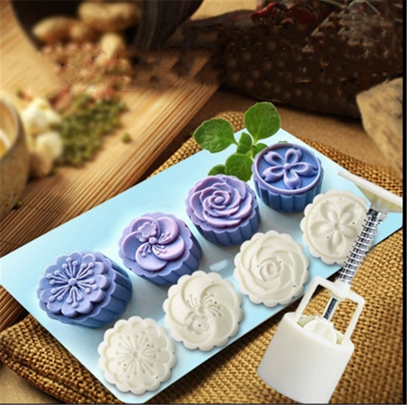 ecc89e9bc Three-dimensional moon cake mold hand-pressed mung bean cake mold stereo  Chrysanthemum plum