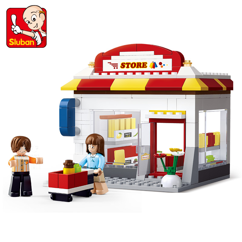 B0571 SLUBAN City Series Convenience Store Model Building Blocks Classic Enlighten DIY Figure Toys For Children Compatible Legoe 10639 bela city explorers volcano crawler model building blocks classic enlighten diy figure toys for children compatible legoe