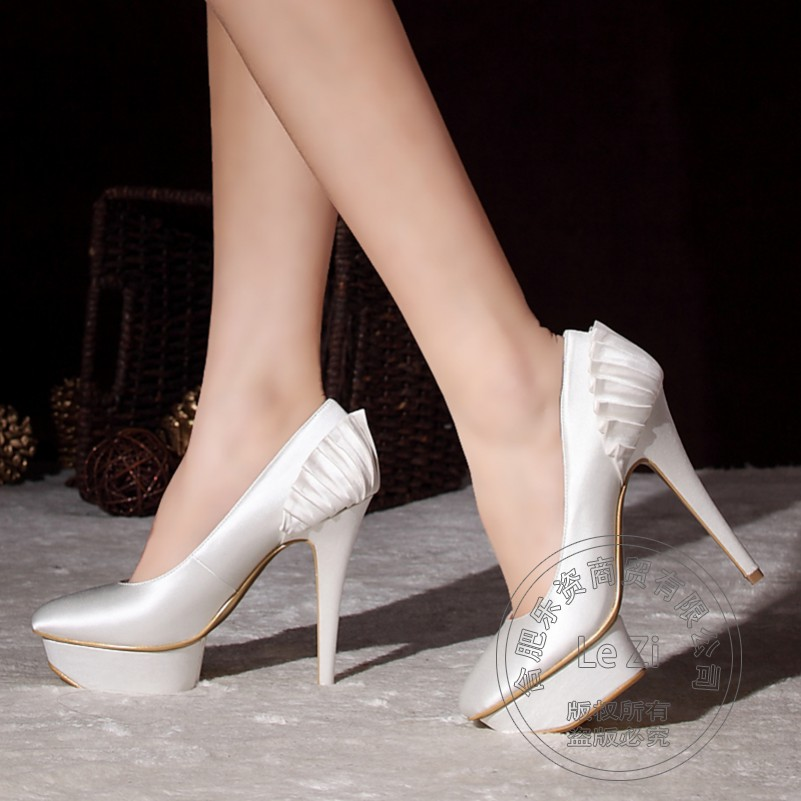 White Lace Womens Wedding Shoes Extreme High Heels Pleated New Fetish Red For font b Women