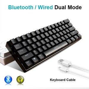 Image 2 - Yeni _ _ _ _ _ _ _ _ _ _ _ _ _ _ _ _ _ _ _ _ tuşları RK61 Bluetooth kablosuz beyaz LED aydınlatmalı ergonomik mekanik oyun klavyesi oyun aydınlatmalı dizüstü bilgisayar için