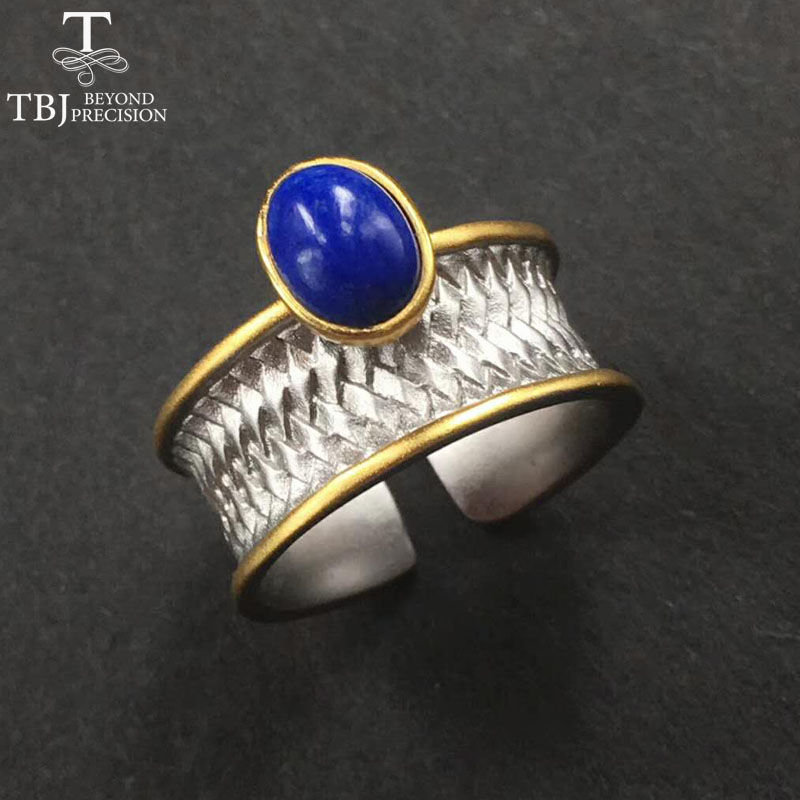 TBJ,2017 New Mens Ring with natural Afghan Lapis Gemstone,best gift for men husband and boyfriend birthday party with gift boxTBJ,2017 New Mens Ring with natural Afghan Lapis Gemstone,best gift for men husband and boyfriend birthday party with gift box