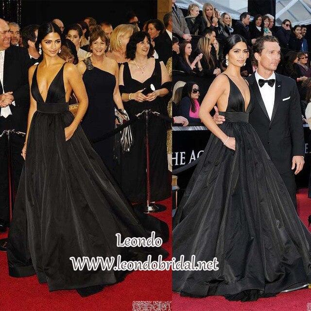 940518feda338 Camila Alves Black V-neck Dress at Oscar Awards 2011 Red Carpet Dress 2015