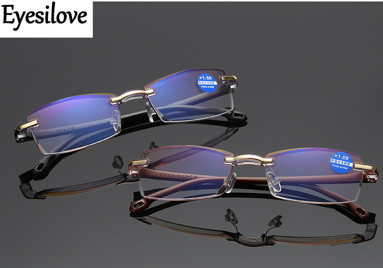 Eyesilove men's rimless reading glasses TR90 Diamond Cutting reading eyeglasses anti blue ray presbyopia glasses +1.00 to +4.00