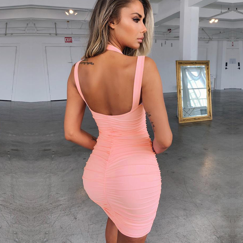 Kimuise bandage dress women sexy backless pleated spaghetti strap night club party dress 2019 ukraine robe vestidos summer dress in Dresses from Women 39 s Clothing