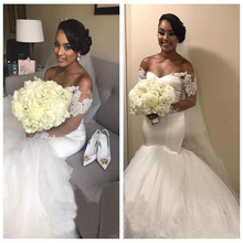 2018 Off Shoulder Alibaba Custom Made Pure White Long Sleeves Mermaid  Wedding Dresses Lace Appliques African 72d4b5e073f6