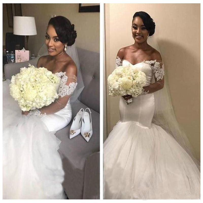 2019 Off Shoulder Alibaba Custom Made Pure White Long Sleeves Mermaid Wedding Dresses Lace Appliques African Bridal Gowns