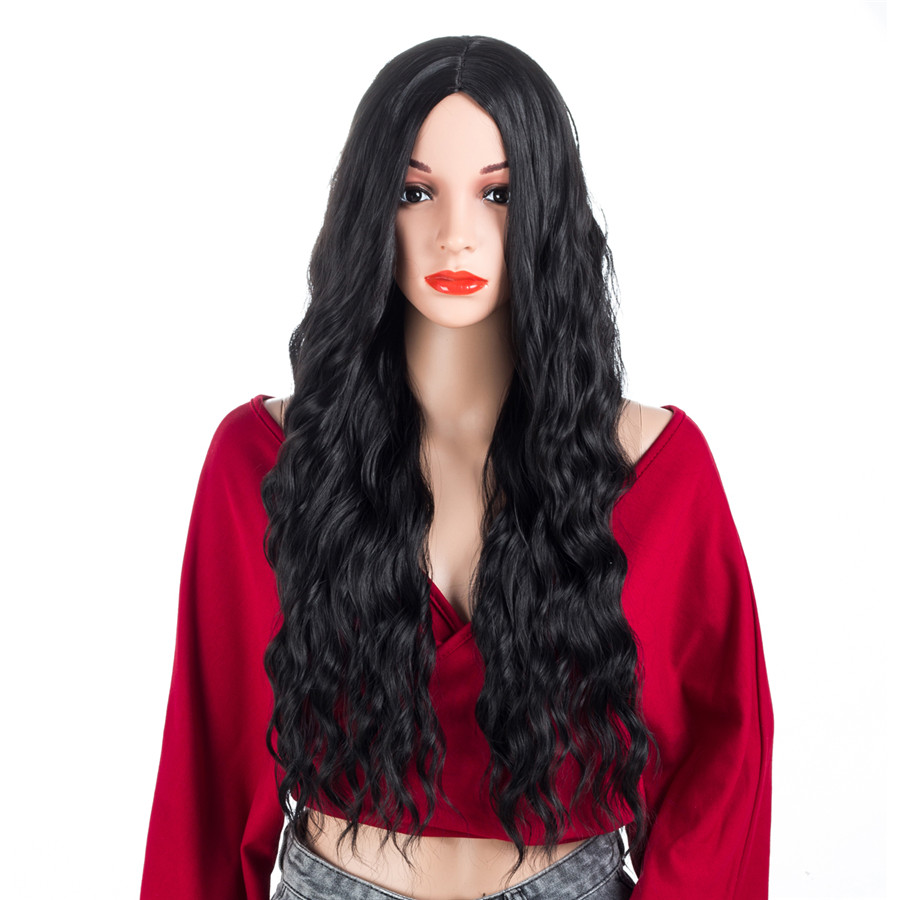XCCOCO Long Wave Synthetic Wigs Party Cosplay Wig for Women 22 Inch Natural Black Heat Resistant