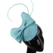 Леди Бирюзовый бант украшают шляпу имитация льняной чародей База перо страуса элегантные женщины millinery вспомогательный оголовье волос