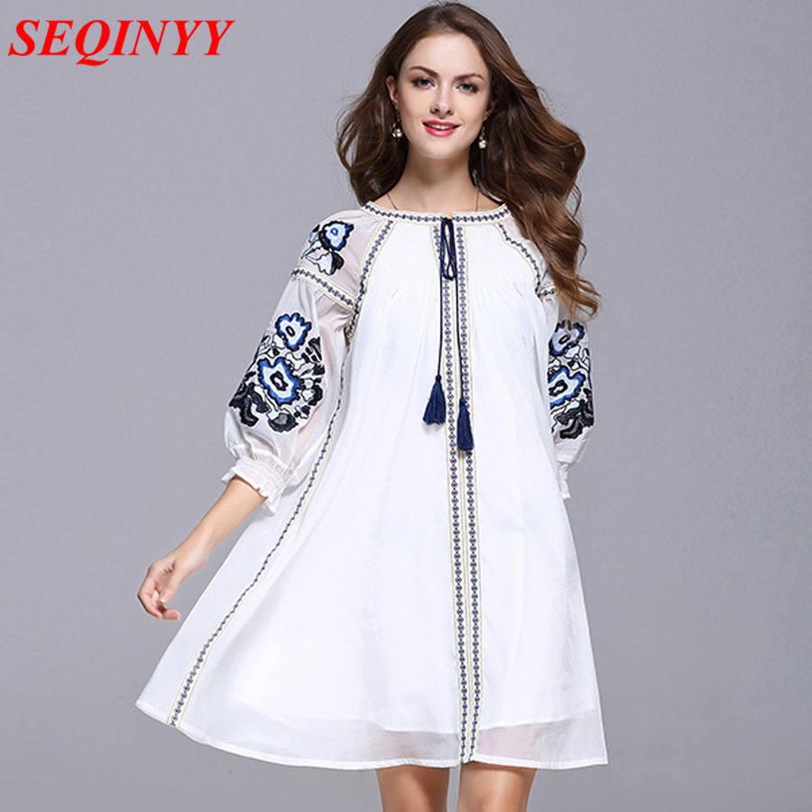 Noble Casual Mini Dress Women XXXL Summer 2017 Lantern 3/4 Sleeve Floral Embroidery Tassel National Ethnic Blue White Dress