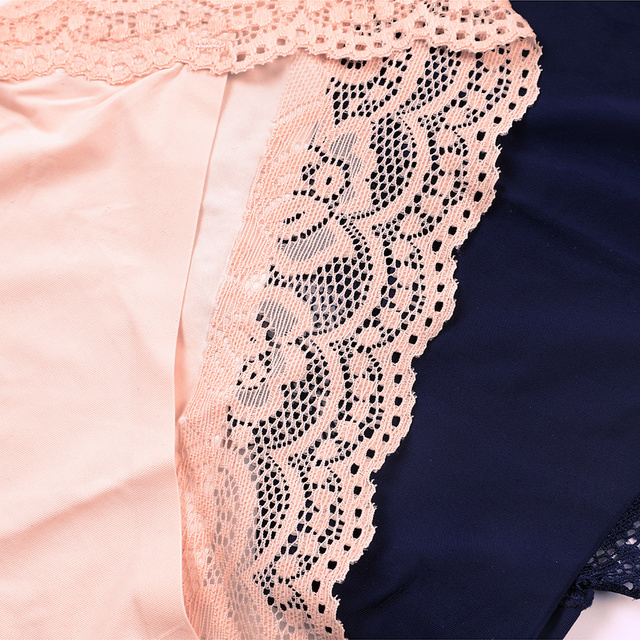 ATTRACO Women's Lace Underwear String Pantie Briefs Cotton 4 Pack Cueca Calcinha  Tanga Thong Lace Edge Cotton Crotch Tempting 5