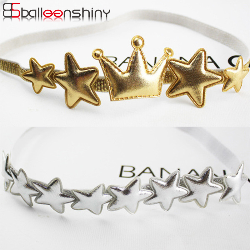 BalleenShiny Star Crown Headband Golden Baby Girls Fashion Glitter Hair Band Children Cute Hair Accessories Photo Props Bandeau