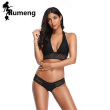 RUMENG Bikini Swimsuit Swimwear Woman Bikinis 2019 Black Hollow Bather Swimming Suit For Women Swimsuits Female Micro
