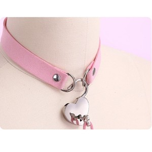 Image 1 - Sexy PU Choker Punk Rock Handmade Heart lock Metal Leather Collar,BDSM Bondage Necklace Neckband,Sex Toys for women