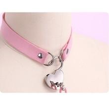 Sexy PU Choker Punk Rock Handmade Heart lock Metal Leather Collar,BDSM Bondage N