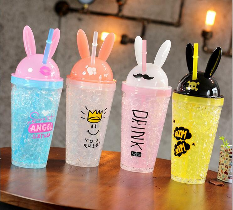 Free Shipping!High Quality Plastic ICE Water bottle Lovely Rabbit Design Straw Ice bottle Children Sports Camping Space Bottle