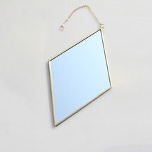 Creative Diamond Shaped Copper Side Hanging Mirror Wall Hanging Mirror Bathroom Mirror