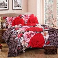 3D bedding sets 4 PCS comforter duvet cover set winter bedsheet queen king size Bed linen bedclothes flower print HomeTextiles