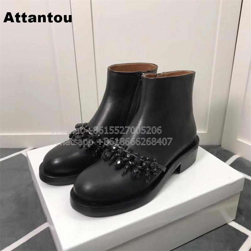 New Fashion Black PU Leather Martin Boot Woman Round Toe Riding Boots Designer Chain-Link Low Heel short Booty New Fashion Black PU Leather Martin Boot Woman Round Toe Riding Boots Designer Chain-Link Low Heel short Booty