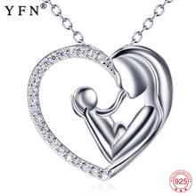 Real 925 Sterling Silver Mother Love Necklace & Child Heart Pendants Necklaces Mothers Day Gift Fahsion Jewelry