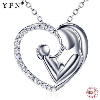 48e62a347f93 Real 925 plata esterlina amor madre Madre y niño amor corazón colgantes  collares regalo del Día de la madre joyería del Fahsion