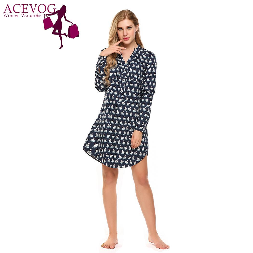 ACEVOG Sleep Long Button Down Dress Lounge Women   Nightgown   Sleeve   Sleepshirt   Sleepwear Fashion Nightwear For Women